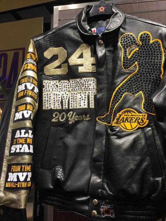 <div class='meta'><div class='origin-logo' data-origin='none'></div><span class='caption-text' data-credit='KABC'>A lambskin jacket emblazoned with Kobe Bryant's Lakers jersey No. 24 is shown. It retails for more than $5,800.</span></div>