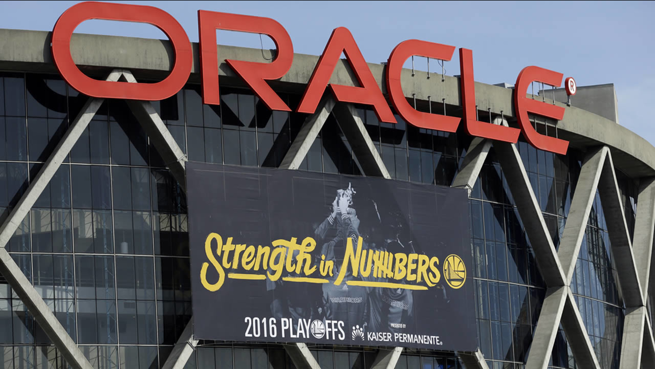 Warriors have installed the team's 2016 playoff signage, using the Strength in Numbers slogan seen on Oracle Arena on April 12, 2016, in Oakland, Calif. (AP Photo/Ben Margot)