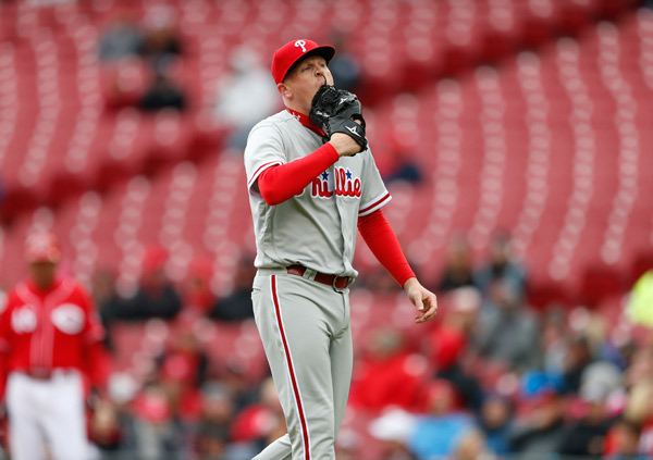 """<div class=""""meta image-caption""""><div class=""""origin-logo origin-image ap""""><span>AP</span></div><span class=""""caption-text"""">Philadelphia Phillies relief pitcher Daniel Stumpf walks to the dugout after being pulled from the game during the fourth inning of a baseball game against the Cincinnati Reds. (AP Photo/Gary Landers)</span></div>"""