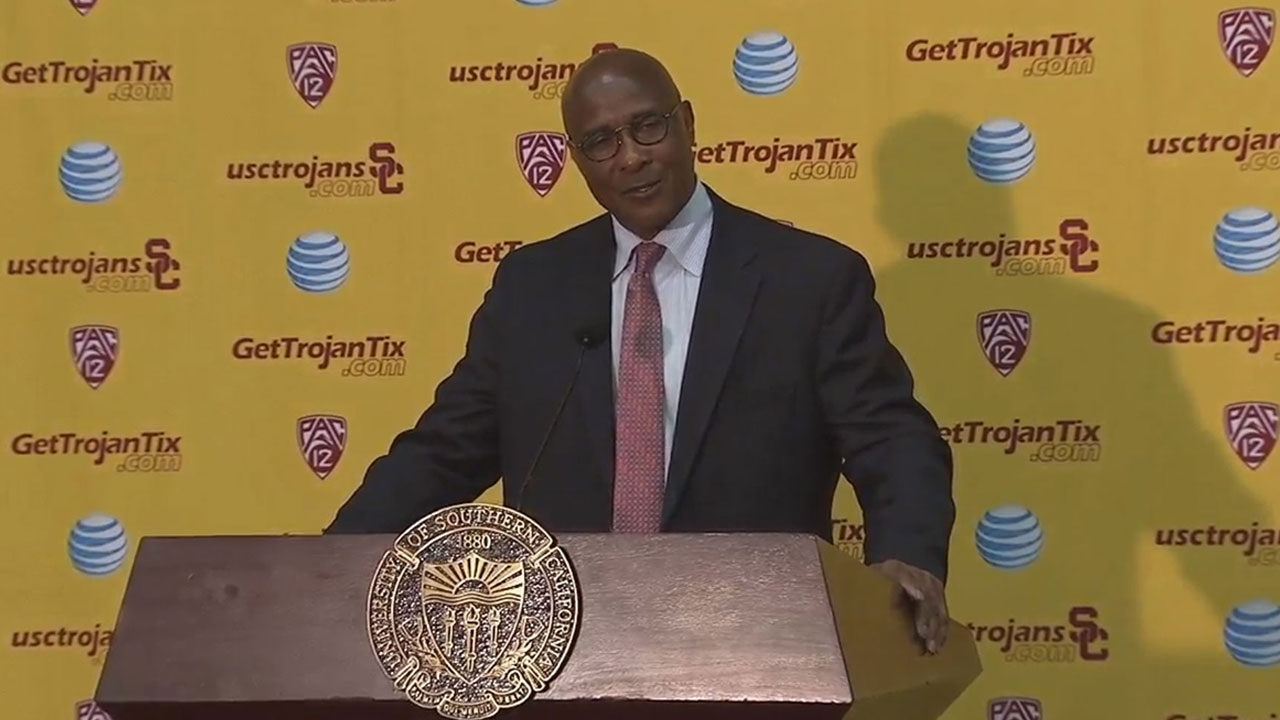 Lynn Swann is formerly introduced by USC President C.L. Max Nikias as the university's new athletic director during a news conference Thursday, April 14, 2016.