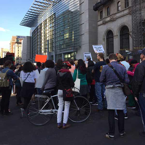"""<div class=""""meta image-caption""""><div class=""""origin-logo origin-image wpvi""""><span>WPVI</span></div><span class=""""caption-text"""">Protestors stopped outside McDonald's at Broad and Arch.</span></div>"""