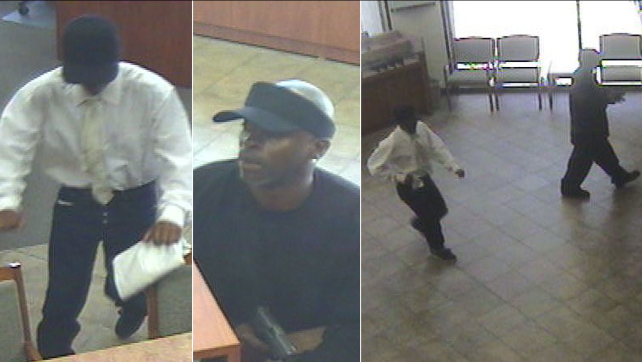 Two suspects involved in an armed take-over style bank robbery in West L.A. are shown on surveillance video on Thursday, April 14, 2016.