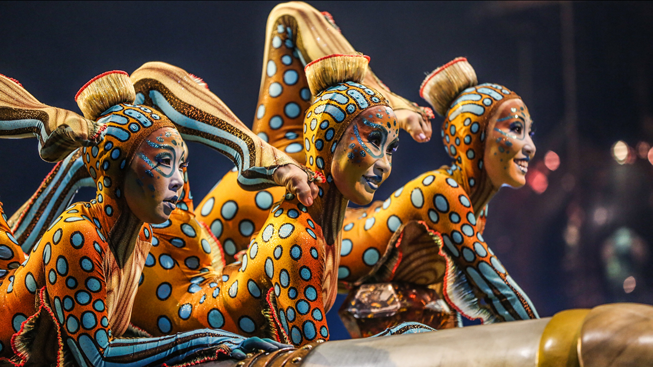 "Cast members from Cirque du Soleil perform on stage during the LA Premiere of Cirque du Soleil's ""KURIOS - Cabinet of Curiosities"" at Dodger Stadium on Wednesday, Dec. 9, 2015"