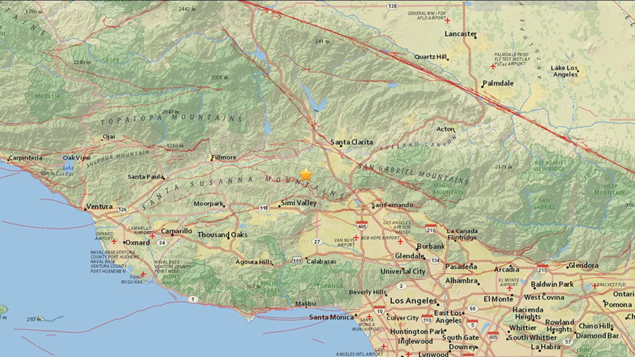 The United States Geological Survey said a 3.3-magnitude earthquake struck near Valencia on Friday, April 15, 2016.