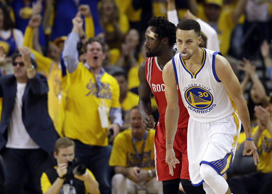 """<div class=""""meta image-caption""""><div class=""""origin-logo origin-image ap""""><span>AP</span></div><span class=""""caption-text"""">Golden State Warriors' Stephen Curry (30) celebrates after making a 3-point basket against the Houston Rockets during the first half. (Marcio Jose Sanchez)</span></div>"""