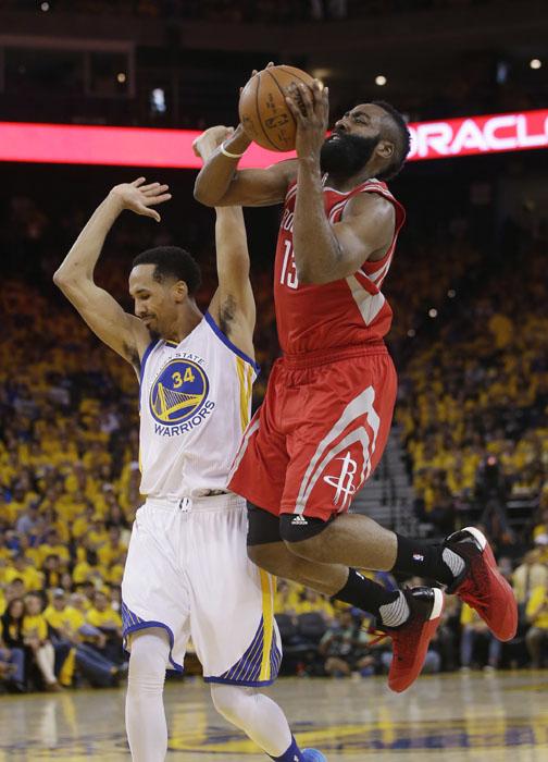 "<div class=""meta image-caption""><div class=""origin-logo origin-image ap""><span>AP</span></div><span class=""caption-text"">Houston Rockets' James Harden (13) commits an offensive foul on Golden State Warriors' Shaun Livingston (34) during the first half. (Marcio Jose Sanchez)</span></div>"