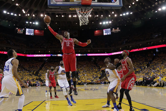 """<div class=""""meta image-caption""""><div class=""""origin-logo origin-image ap""""><span>AP</span></div><span class=""""caption-text"""">Houston Rockets' Dwight Howard (12) grabs a rebound against the Golden State Warriors during the first half in Game 1 of a first-round. (Marcio Jose Sanchez)</span></div>"""