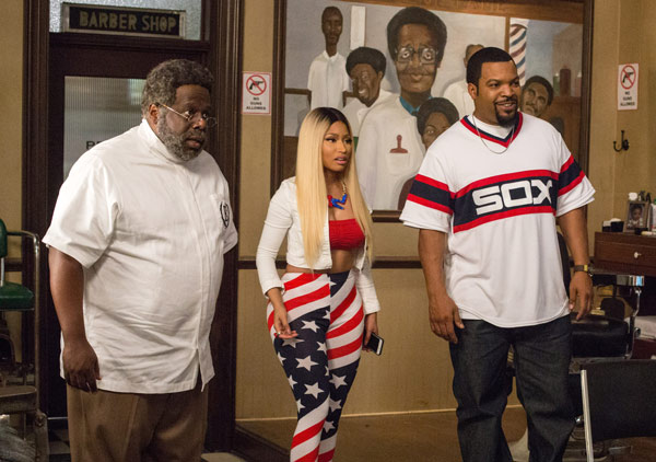 """<div class=""""meta image-caption""""><div class=""""origin-logo origin-image ap""""><span>AP</span></div><span class=""""caption-text"""">In this image released by Warner Bros., Cedric The Entertainer, from left, Nicki Minaj and Ice Cube appear in a scene from """"Barbershop: The Next Cut."""" (Chuck Zlotnick/Warner Bros. via AP)</span></div>"""