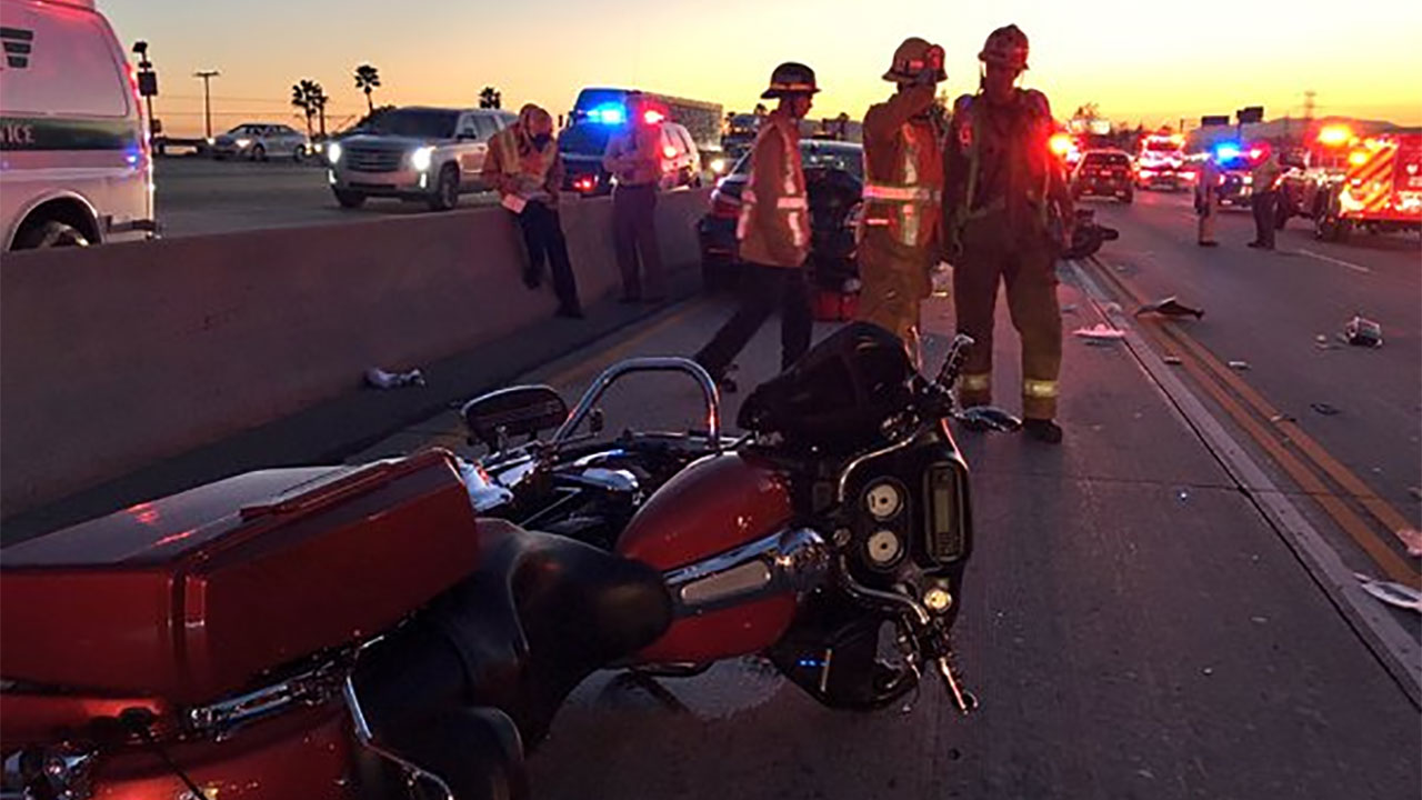 California Highway Patrol officials respond to a crash involving at least six motorcycles near Irwindale Avenue in Irwindale on Saturday, April 16, 2016.