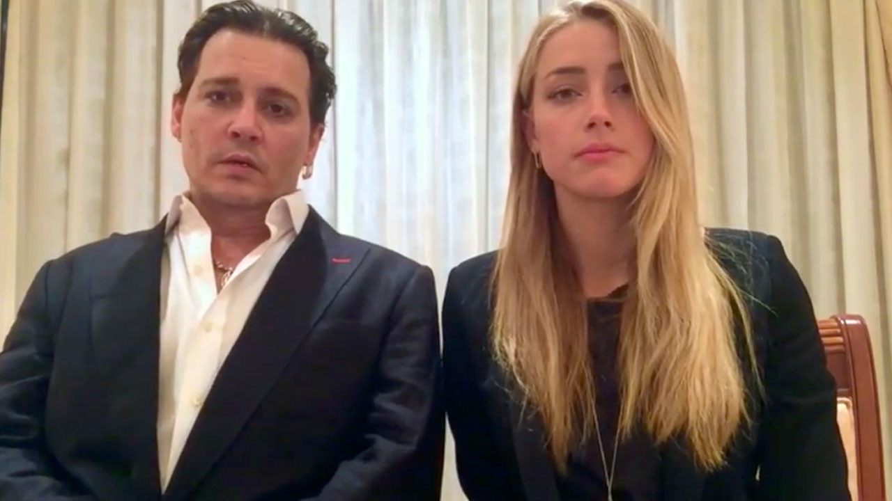 Johnny Depp and Amber Heard speak in a videotaped apology played during Monday's hearing at the Southport Magistrates Court on Queensland state's Gold Coast.