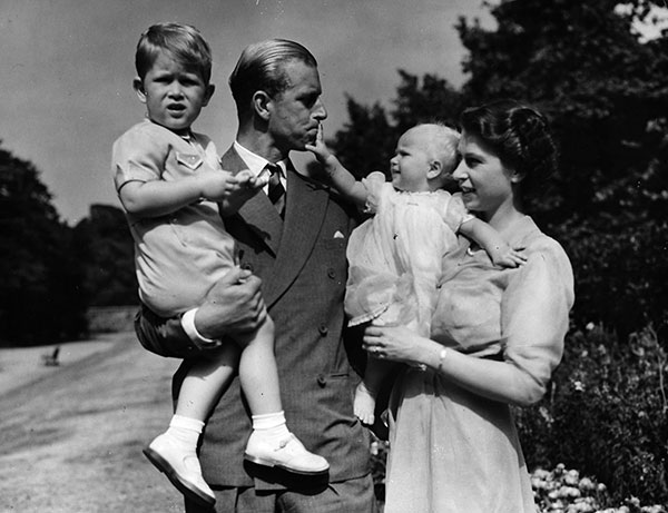 "<div class=""meta image-caption""><div class=""origin-logo origin-image none""><span>none</span></div><span class=""caption-text"">Princess Elizabeth stands with her husband Prince Philip, the Duke of Edingburgh, and their children Prince Charles and Princess Anne at the couple's London residence in 1951. (AP Photo/Worth)</span></div>"