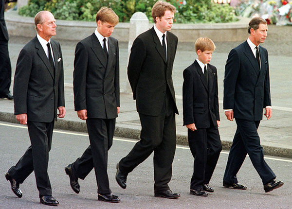 "<div class=""meta image-caption""><div class=""origin-logo origin-image none""><span>none</span></div><span class=""caption-text"">The Duke of Edinburgh, Prince William, Earl Spencer, Prince Harry and Prince Charles walk together during Princess Diana's funeral in 1997. (AP Photo/Jeff J. Mitchell, Pool)</span></div>"