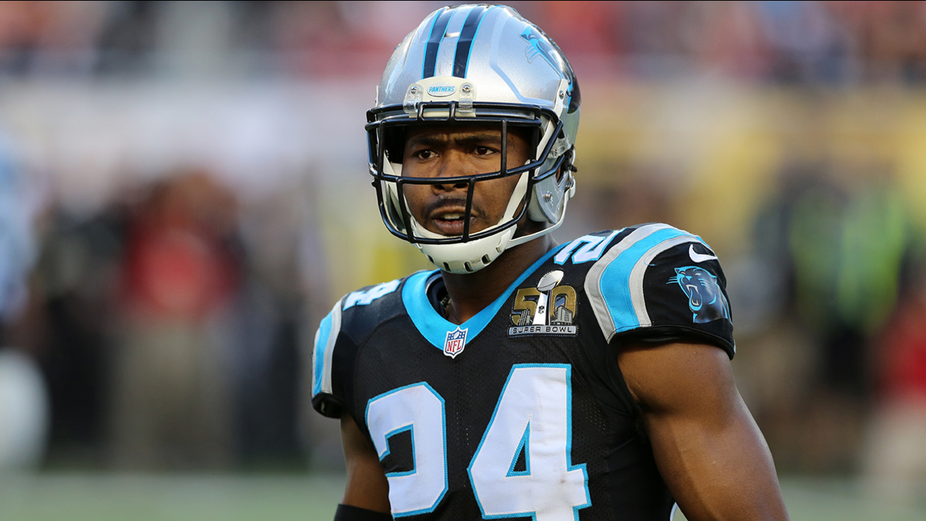 Carolina Panthers Josh Norman #24 is seen against the Denver Broncos during the NFL Super Bowl 50 football game Sunday, Feb. 7, 2016, in Santa Clara, Calif.