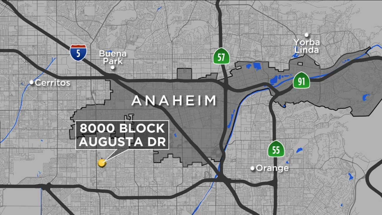 This map shows the location where a homeowner was shot after confronting suspects vandalizing his home in the 8300 block of Augusta Drive in unincorporated Anaheim on Sunday.