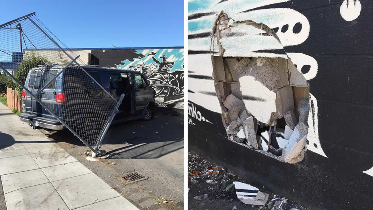 These photos show damage sustained after a stolen van crashed into Rocket Dog Rescue's shelter in Oakland, Calif. on Monday, April 18, 2016.