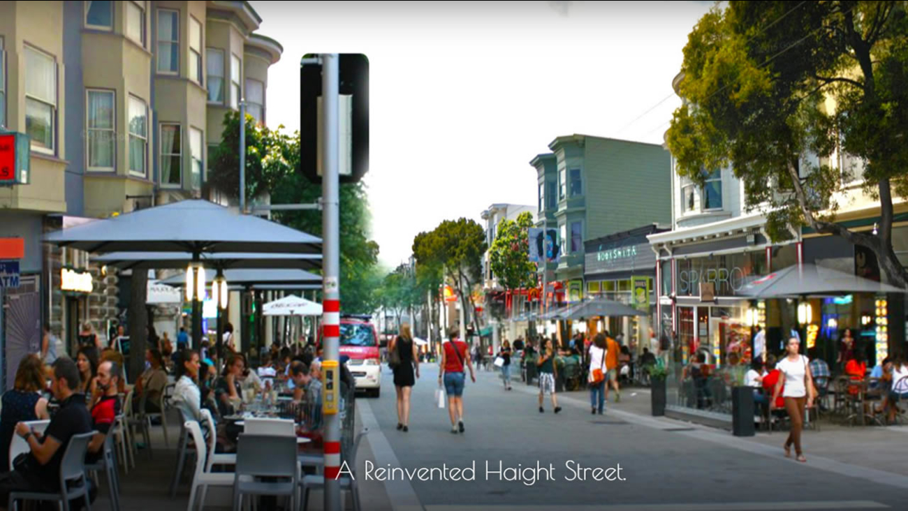 This rendering shows what Haight Street in San Francisco would look like if the corridor was turned into a pedestrian-only neighborhood.