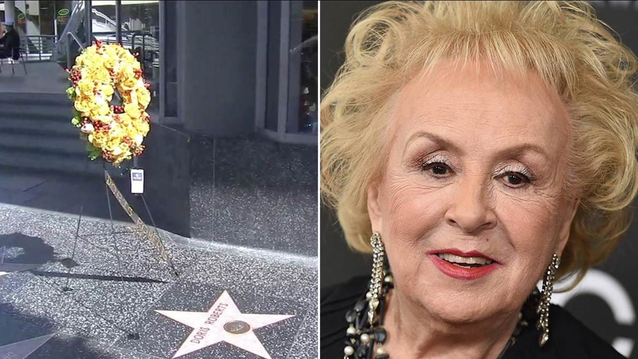 Flowers were placed on the Hollywood Walk of Fame star of actress Doris Roberts, who died at age 90.