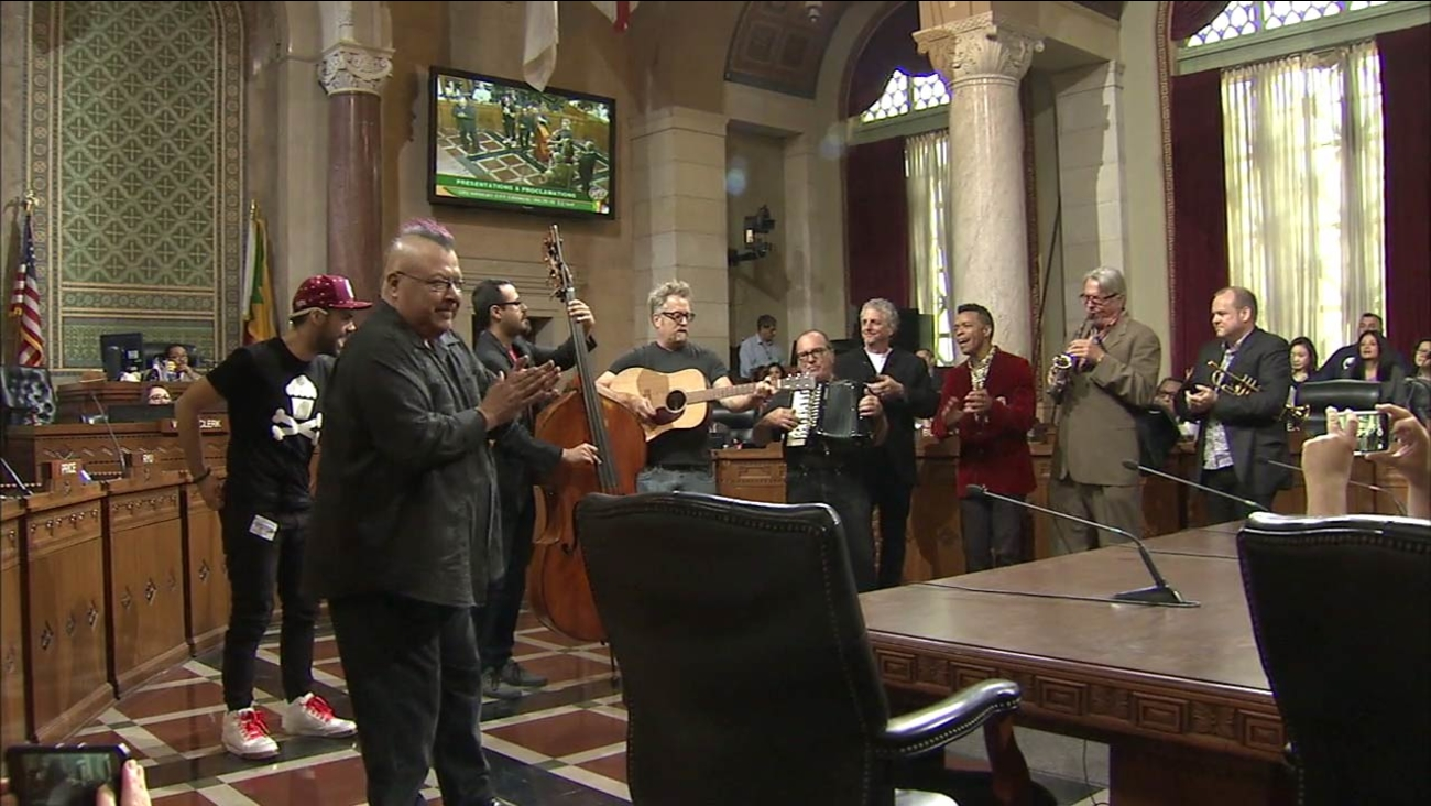 Members of the '80s band Oingo Boingo performed after they were honored by the Los Angeles City Council on Wednesday, April 20, 2016.