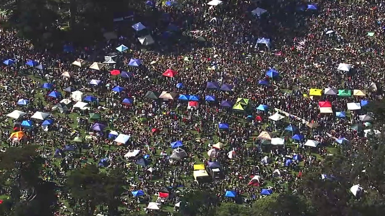 Thousands gathered at Hippie Hill in San Francisco's Golden Gate Park to blow a little smoke on 4/20.