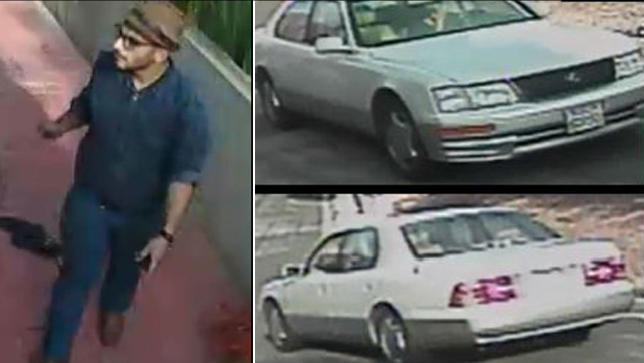 A suspect involved in a a burglary in Rancho Palos Verdes and his getaway car are shown in surveillance photos taken on April 6, 2016.