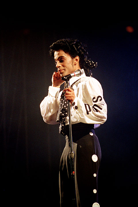 <div class='meta'><div class='origin-logo' data-origin='none'></div><span class='caption-text' data-credit='Ed Bailey/AP Photo'>Prince pauses during his show at New York's Madison Square Garden Sunday night, Oct. 3, 1988.</span></div>