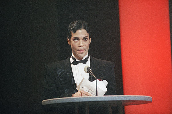 <div class='meta'><div class='origin-logo' data-origin='none'></div><span class='caption-text' data-credit='Nick Ut/AP Photo'>Prince speaks at the American Music Awards in Jan. 1986 in Los Angeles.</span></div>