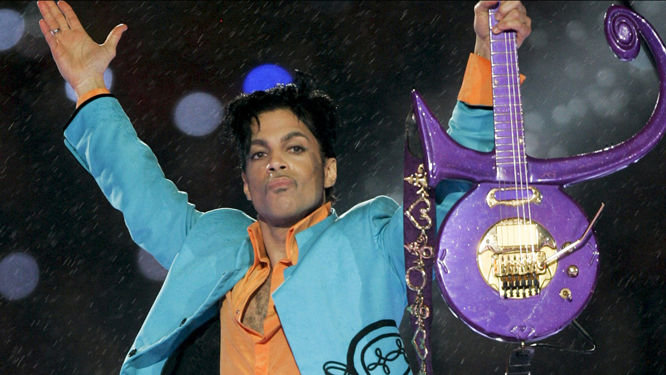In this Feb. 4, 2007 file photo, Prince performs during the halftime show at Super Bowl XLI in Miami.