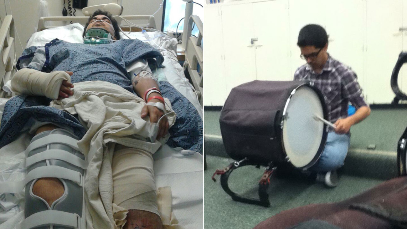 Chris Chavez, a drumline teacher at Saddleback High School in Santa Ana, was hospitalized after being struck by a hit-and-run driver.