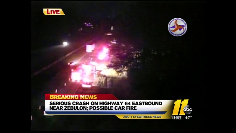 Serious crash reported on Hwy 64 near Zebulon