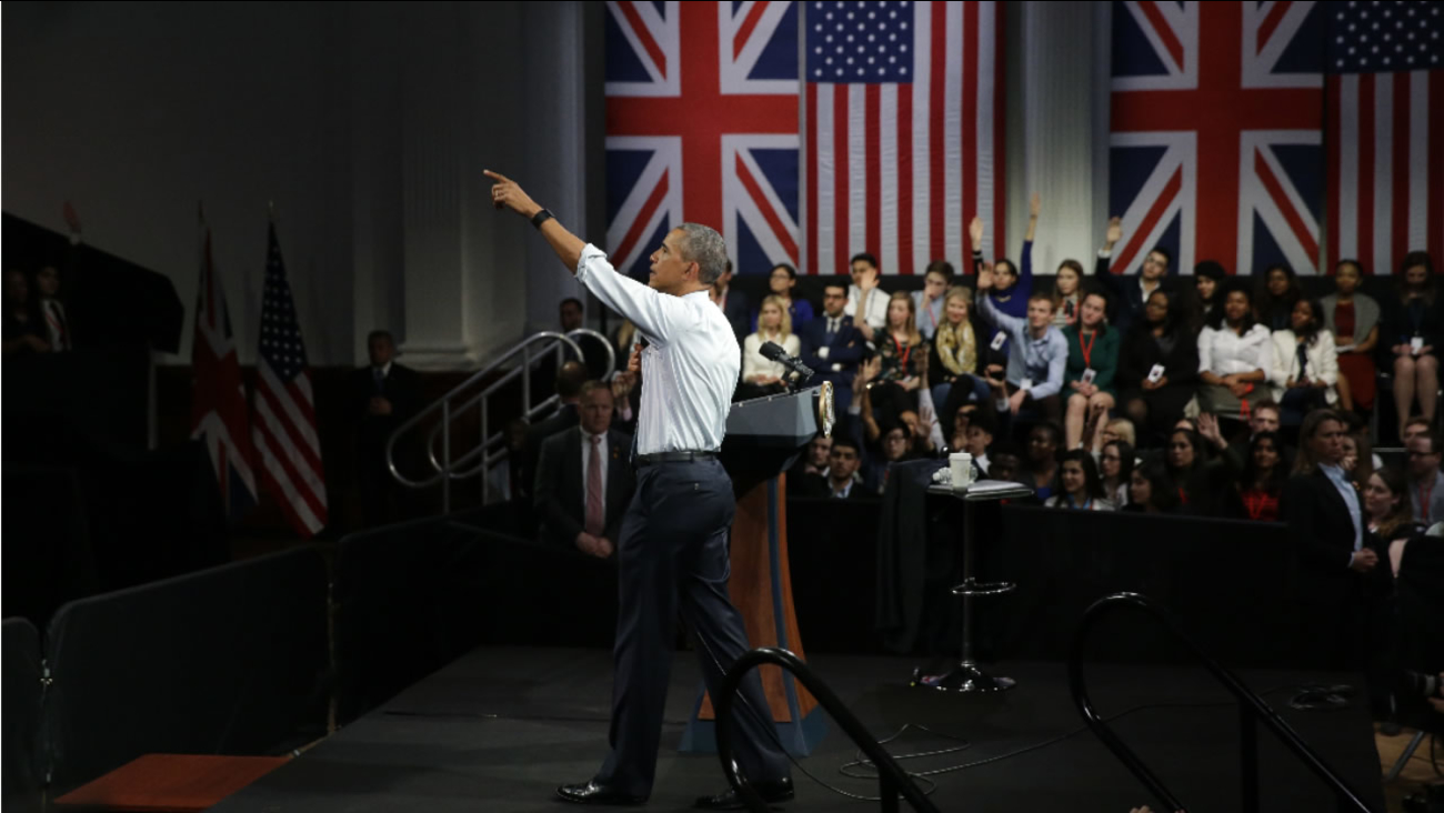 U.S. President Barack Obama takes a question as he speaks to a town hall meeting with an audience from the U.S. Embassy's Young Leaders UK program in London, Saturday, April 23, 2016.