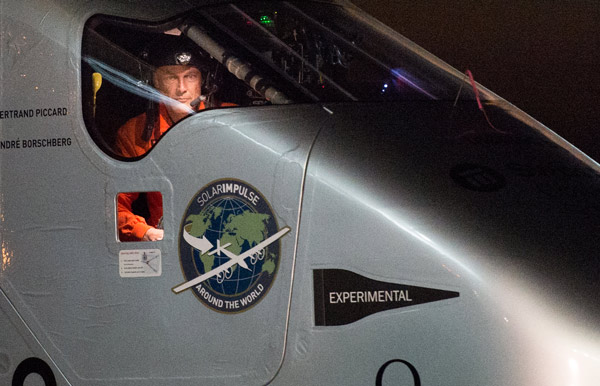 "<div class=""meta image-caption""><div class=""origin-logo origin-image ap""><span>AP</span></div><span class=""caption-text"">Solar Impulse 2 pilot Bertrand Piccard looks out his cockpit window shortly after landing at Moffett Field in Mountain View, Calif., on Saturday, April 23, 2016. (AP Photo/Noah Berger)</span></div>"