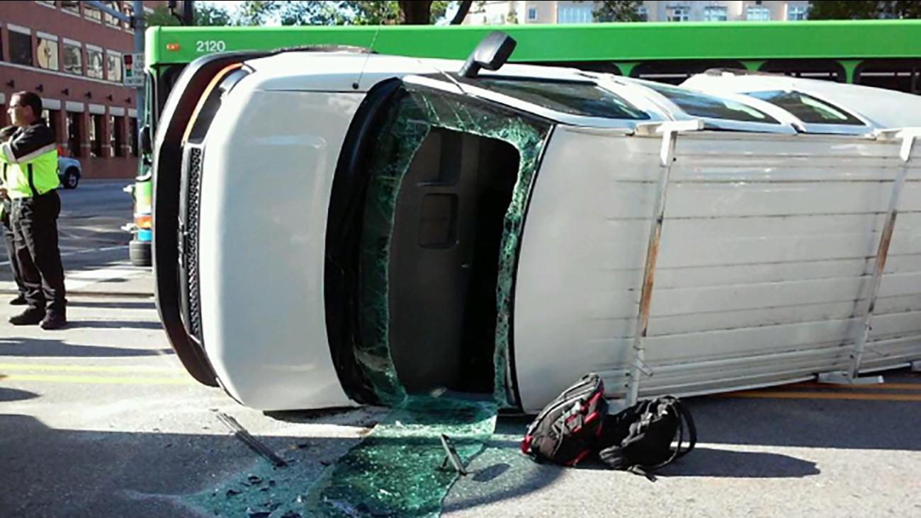 Officials say the van ran a red light