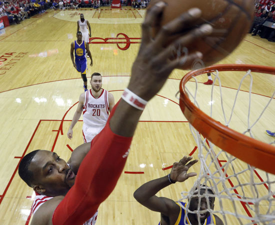"""<div class=""""meta image-caption""""><div class=""""origin-logo origin-image ap""""><span>AP</span></div><span class=""""caption-text"""">Houston Rockets' Dwight Howard dunks the ball during the first half in Game 4. (David J. Phillip)</span></div>"""