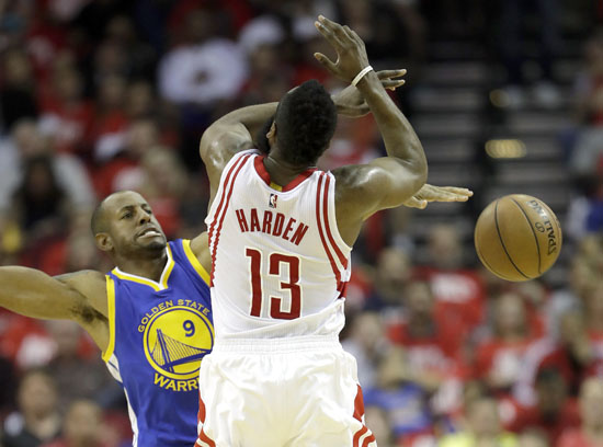 """<div class=""""meta image-caption""""><div class=""""origin-logo origin-image ap""""><span>AP</span></div><span class=""""caption-text"""">Houston Rockets' James Harden, right, is fouled by Golden State Warriors' Andre Iguodala during the first half in Game 4. (David J. Phillip)</span></div>"""