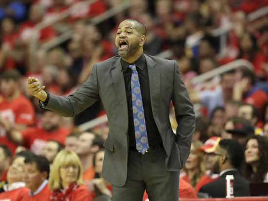 """<div class=""""meta image-caption""""><div class=""""origin-logo origin-image ap""""><span>AP</span></div><span class=""""caption-text"""">Houston Rockets' J.B. Bickerstaff yells from the sidelines during the first half in Game 4. (David J. Phillip)</span></div>"""