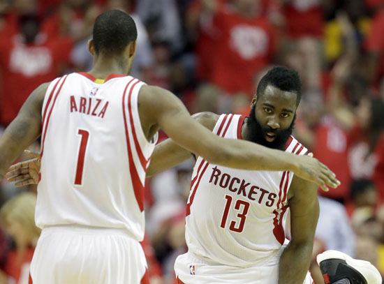 """<div class=""""meta image-caption""""><div class=""""origin-logo origin-image ap""""><span>AP</span></div><span class=""""caption-text"""">Houston Rockets' James Harden, right, is congratulated by teammate Trevor Ariza after stealing the ball and taking it to the basket during the first half in Game 4. (David J. Phillip)</span></div>"""