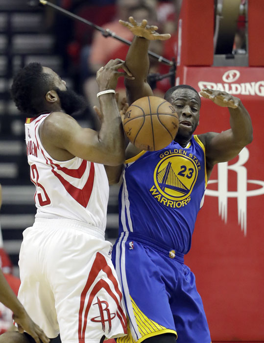 """<div class=""""meta image-caption""""><div class=""""origin-logo origin-image ap""""><span>AP</span></div><span class=""""caption-text"""">Houston Rockets' James Harden, left, is fouled on his way to the basket by by Golden State Warriors' Draymond Green during the first half. (David J. Phillip)</span></div>"""