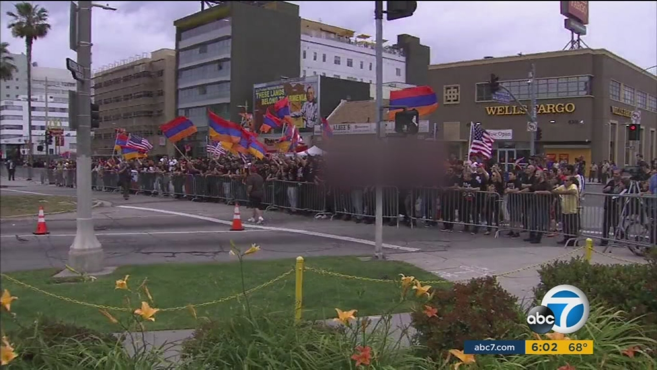 Thousands protested outside the Turkey embassy for Armenian Genocide Remembrance Day on Sunday, April 24, 2016.