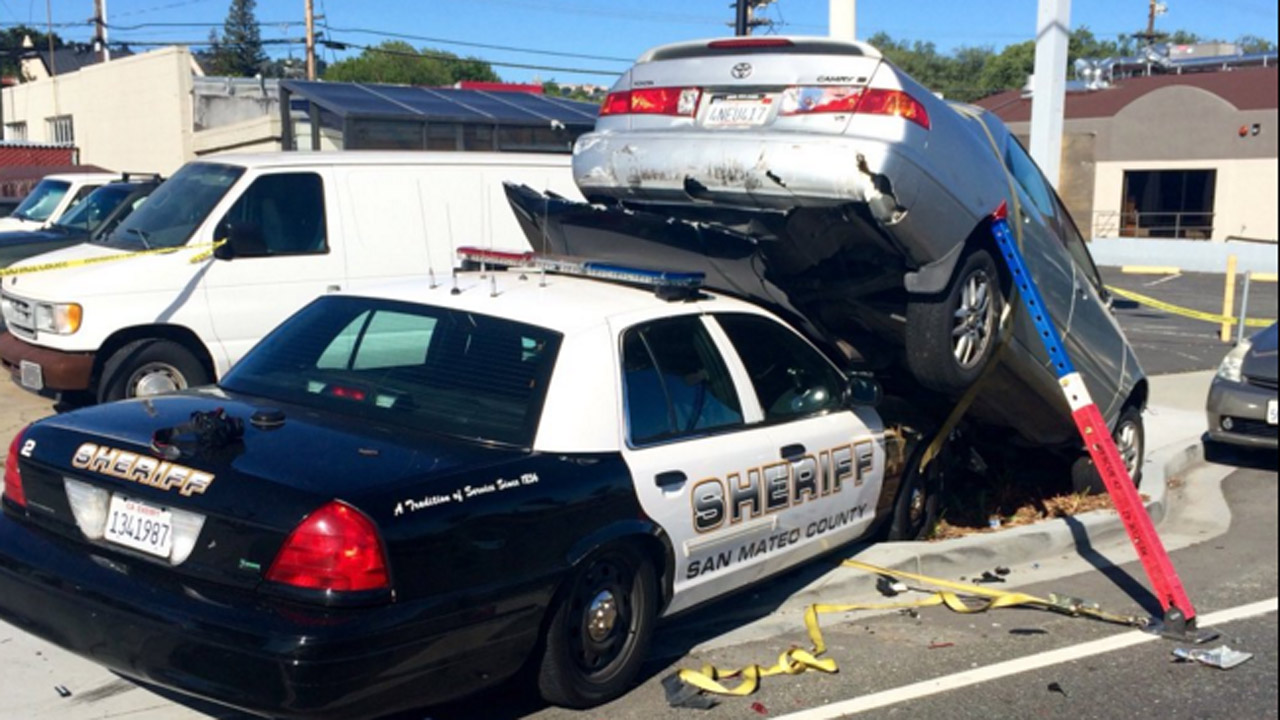San Mateo County sheriff's patrol car accident in San Carlos, California, Monday, April 25, 2016.