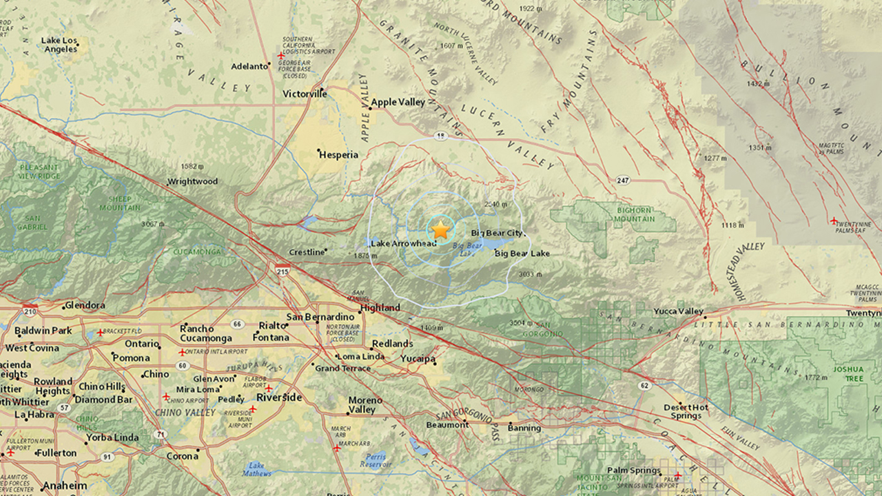 The United States Geological Survey said a 2.9-magnitude earthquake struck near Running Springs in San Bernardino County on Tuesday, April 26, 2016.
