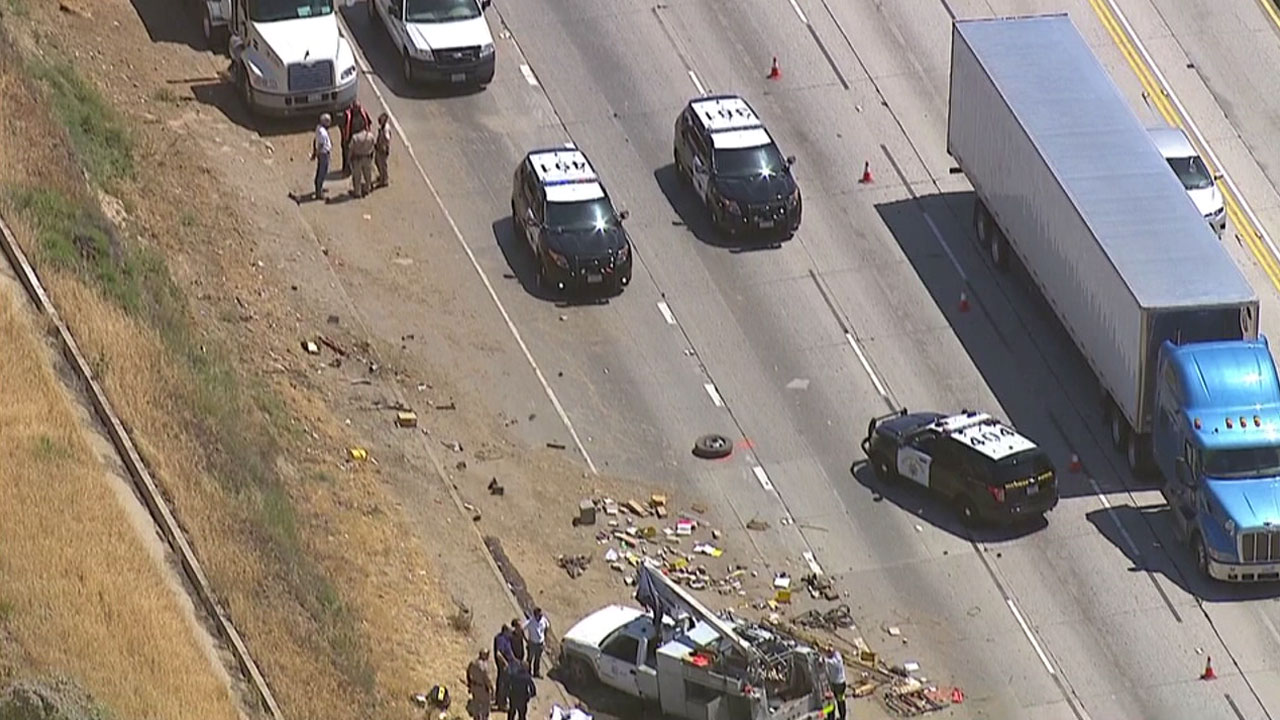 A big rig crashed into a utility services truck, killing the driver, near Sylmar on the northbound 5 Freeway on Thursday, April 28, 2016.