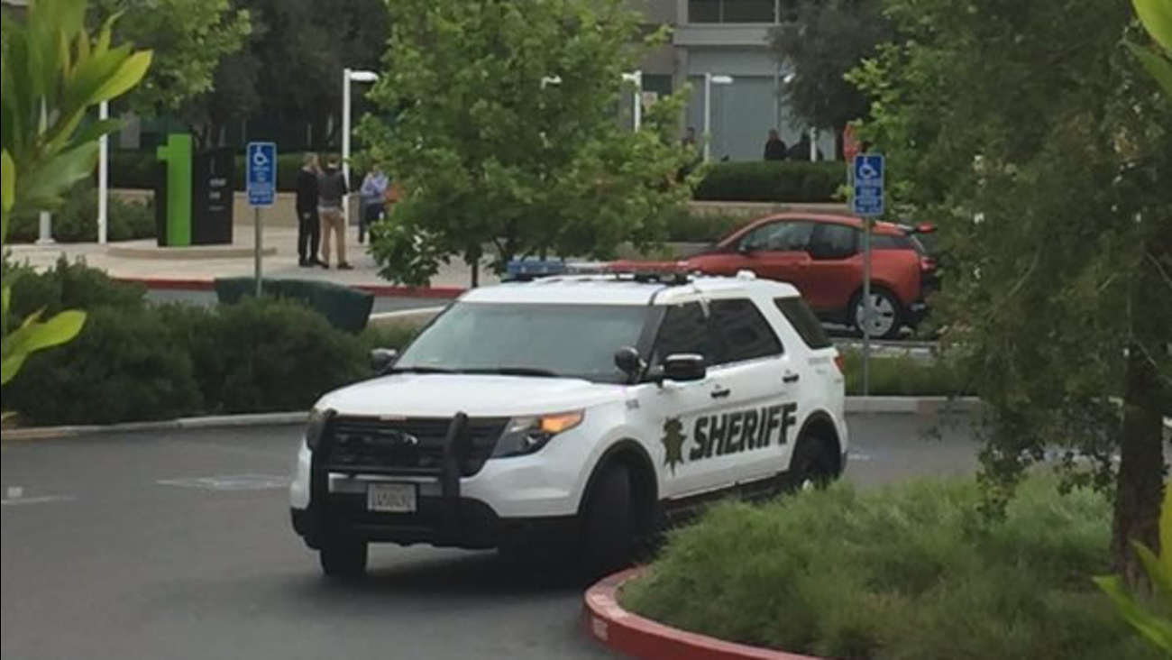 Police respond after a body was found in a conference room inside Apple in Cupertino, Calif. on Wednesday, April 27, 2016.