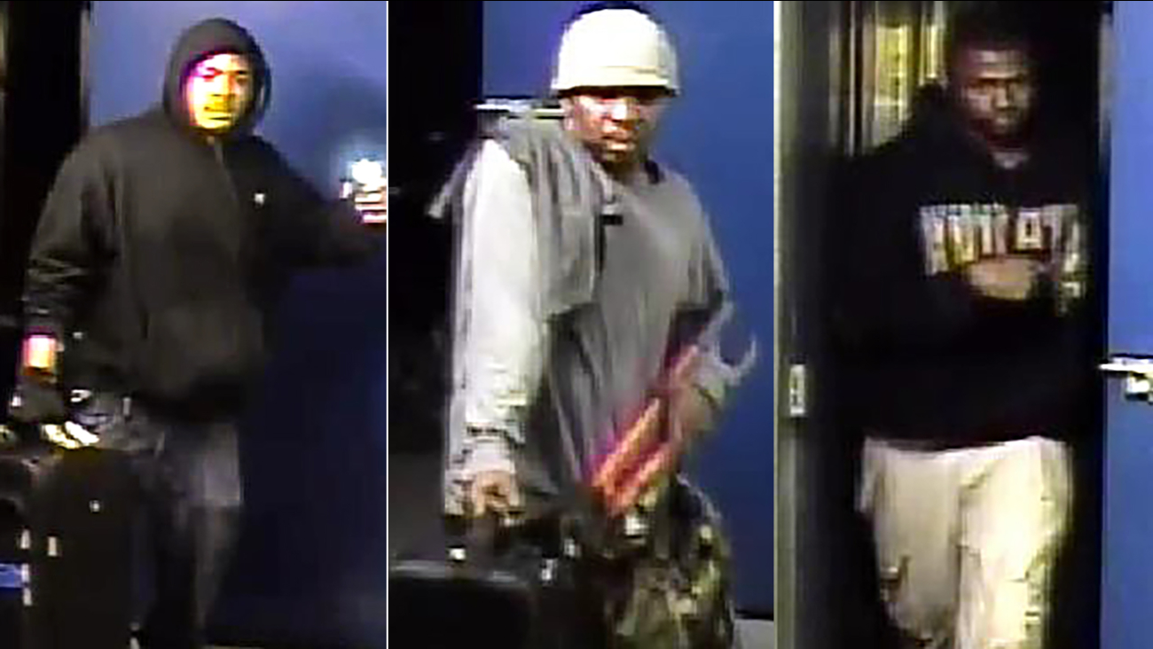 Three suspects wanted in the Durham self-storage burglaries.