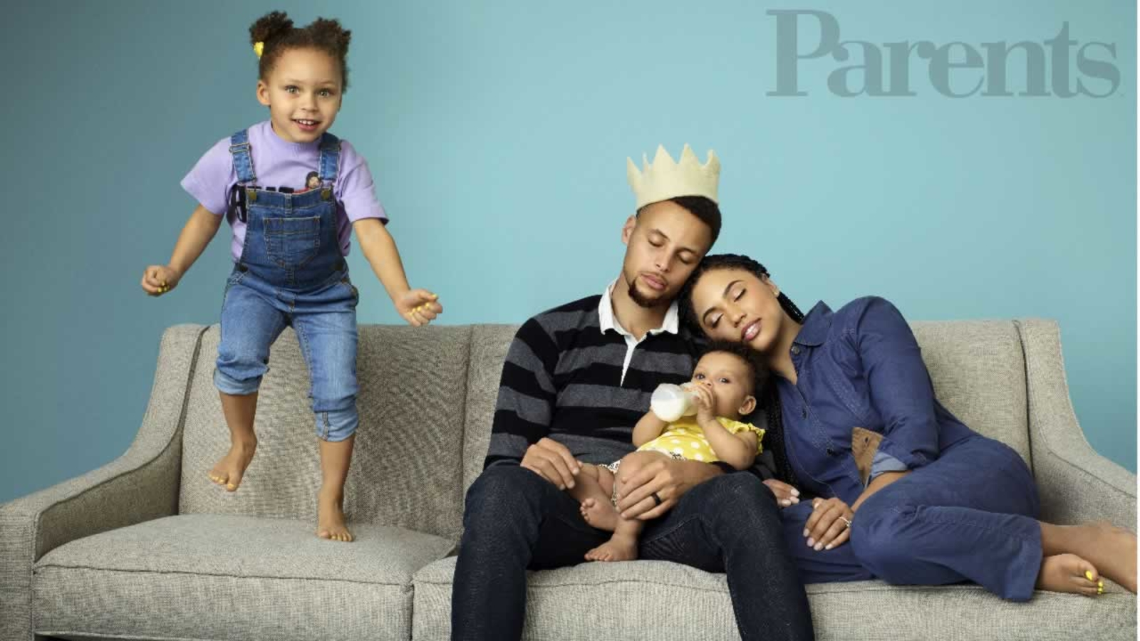 steph curry and adorable family featured on cover of