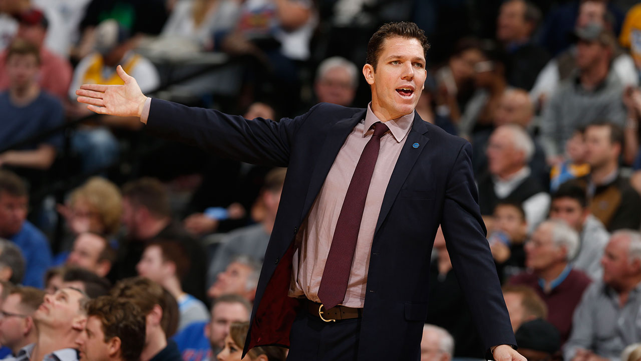 The Los Angeles Lakers have hired Golden State Warriors assistant coach Luke Walton, pictured during a Warriors-Denver Nuggets game on Jan. 13, 2016, as their new head coach.