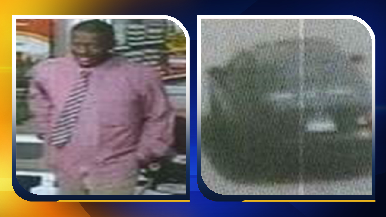 Photos of the suspect and the vehicle he left in