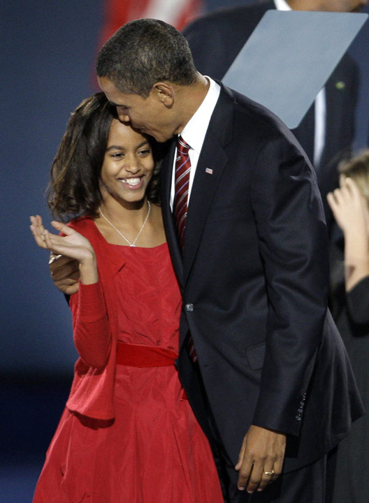 "<div class=""meta image-caption""><div class=""origin-logo origin-image ap""><span>AP</span></div><span class=""caption-text"">President-elect Barack Obama hugs his daughter, Malia, after his acceptance speech at his election night party at Grant Park in Chicago, Tuesday night, Nov. 4, 2008. (AP Photo/Morry Gash)</span></div>"