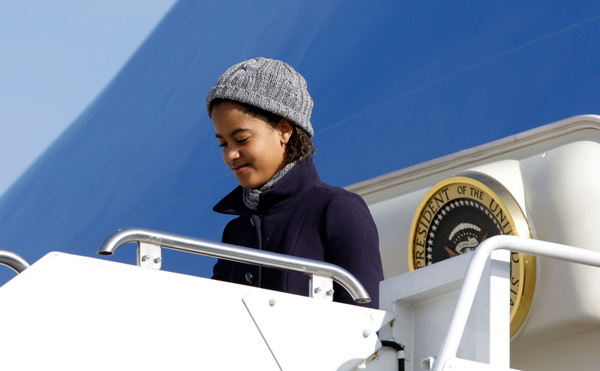 "<div class=""meta image-caption""><div class=""origin-logo origin-image ap""><span>AP</span></div><span class=""caption-text"">Malia Obama, 11, daughter of President Barack Obama, steps off Air Force One at Andrews Air Force Base, Md., Monday, Jan. 4, 2010. (AP Photo/Alex Brandon)</span></div>"