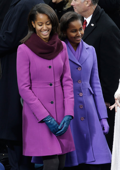 "<div class=""meta image-caption""><div class=""origin-logo origin-image ap""><span>AP</span></div><span class=""caption-text"">Sasha and Malia Obama arrive at the ceremonial swearing-in of their father President Barack Obama at the U.S. Capitol during the 57th Presidential Inauguration in 2013. (AP Photo/Paul Sancya)</span></div>"