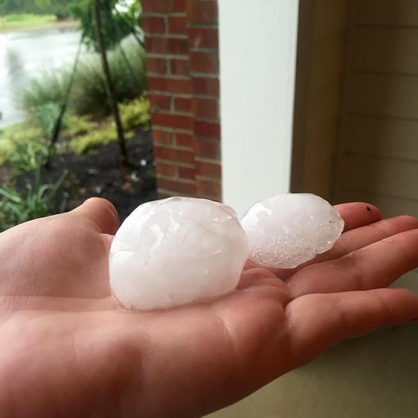 "<div class=""meta image-caption""><div class=""origin-logo origin-image wtvd""><span>WTVD</span></div><span class=""caption-text"">Hail at Post Parkside at Wade apartment complex in Raleigh . (ABC11 Eyewitness/Elizabeth Feindel)</span></div>"